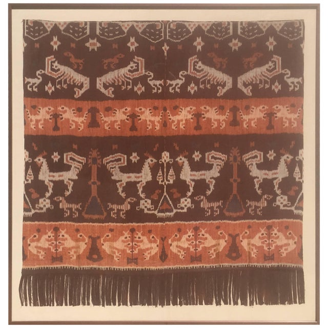 19th Century Framed Indonesian Ikat Art From Steve Chase Palm Springs Estate For Sale