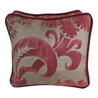 Red & Gold Fortuny Pillows, Pair For Sale