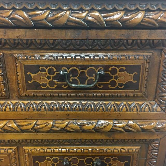 Vintage Carved & Inlaid 4 Drawer Dresser - Image 6 of 9