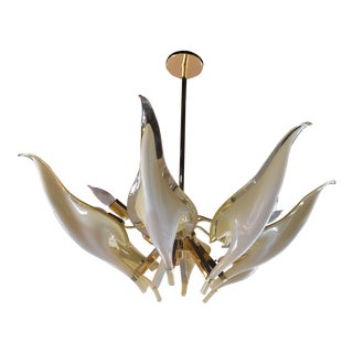 Murano Glass Leaf Chandelier by Franco Luce For Sale
