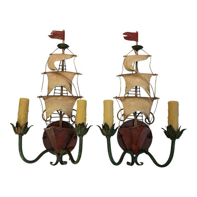 Vintage Italian Tole Ship Sconces by Florentia - a Pair For Sale