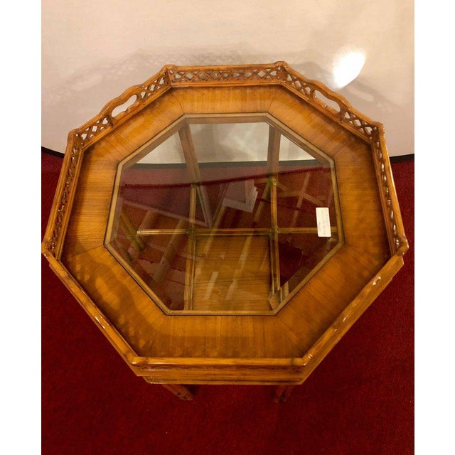 Hollywood Regency Maitland Smith Bamboo Form Octagon Shaped End / Lamp Table With Bevelled Glass For Sale - Image 3 of 13