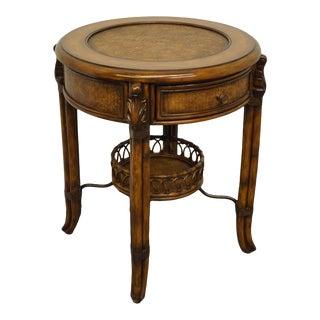 Vintage Hooker Furniture Seven Seas Round Faux End Table For Sale