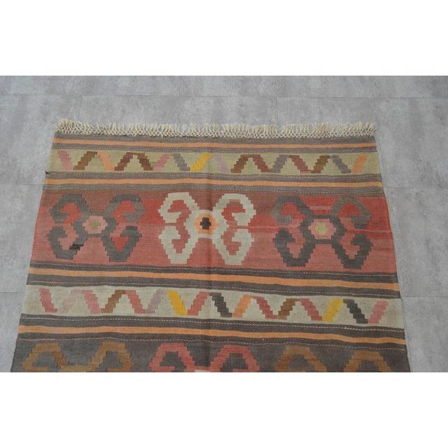 Vintage Anatolian Kars Kilim Area Rug - 5′2″ × 11′ - Image 6 of 10