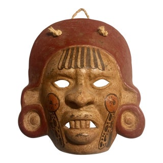 Mayan Ceramic Mask Wall Hanging For Sale
