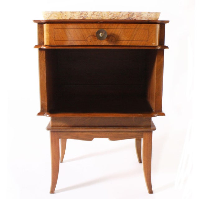 1930s Pair of Art Deco Side Tables With Marble Top, C. 1930 For Sale - Image 5 of 6