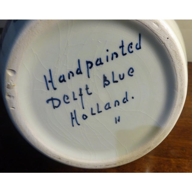 """Delft Hand Painted """"Amphora"""" Jar For Sale - Image 4 of 5"""