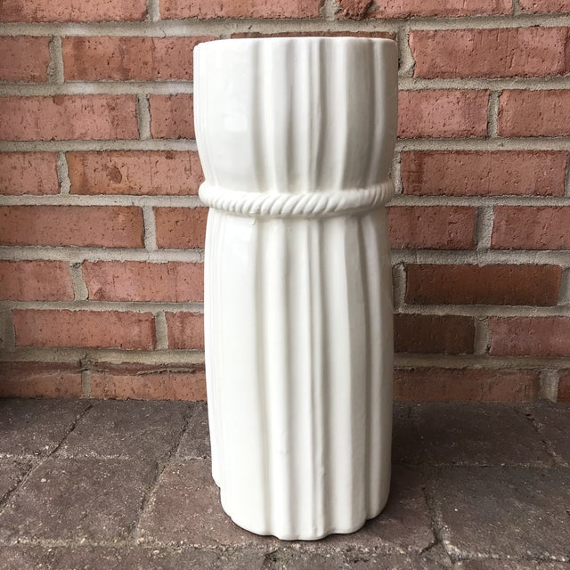 1970s 1970s Vintage Draped Ceramic Umbrella Stand For Sale - Image 5 of 12