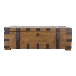 Rustic Restoration Hardware Heirloom Silver-Chest Coffee Trunk For Sale