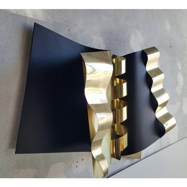 Abstract 1970's Modernist Abstract Brass and Enamel Wall Sculpture by C. Jere For Sale - Image 3 of 7