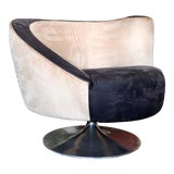 Image of 1990s Vintage Weiman for Vladimir Kagan Corkscrew Swivel Nautilus Suede Leather Chair For Sale