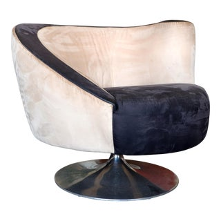 1990s Vintage Weiman for Vladimir Kagan Corkscrew Swivel Nautilus Suede Leather Chair For Sale
