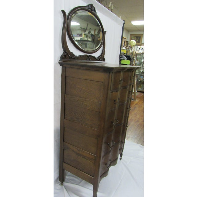 1900s Traditional Oak Highboy Dresser With Mirror For Sale - Image 4 of 12