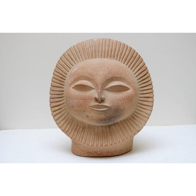 Plaster, Mid-Century Modern-style sun face sculpture designed by Paul Ballardo. Designed in the image of Montezuma....