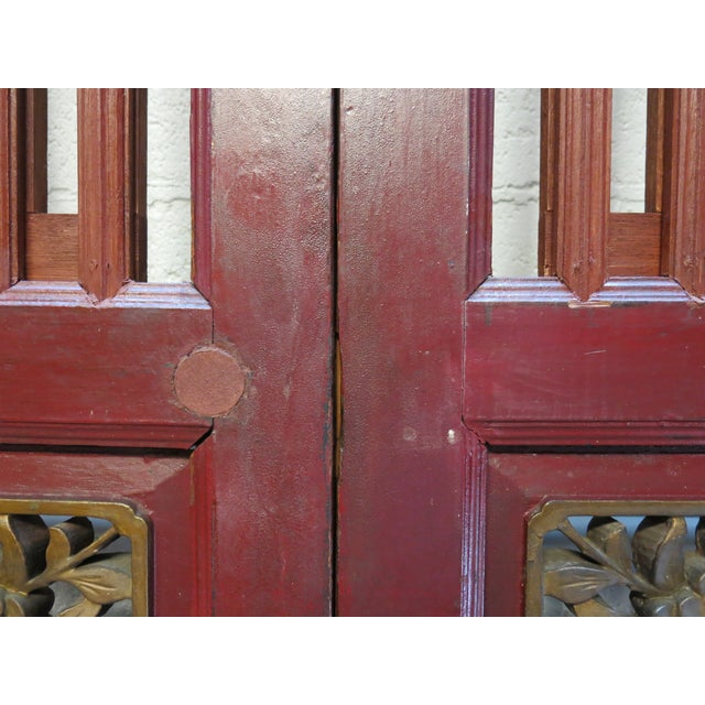 Red Antique Chinese Hand Carved Wooden Doors - a Pair For Sale - Image 8 of 11