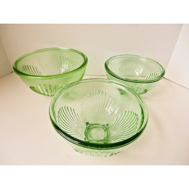 Depression Glass Mixing Bowls - Set of 3 For Sale - Image 4 of 7