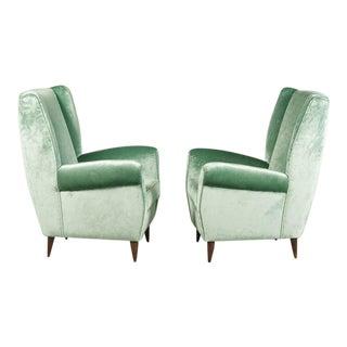 Gio Ponti Velvet Armchairs - A Pair