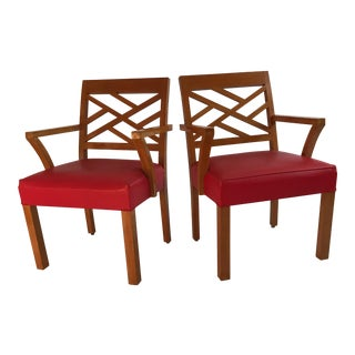 Mid Century Modern Chippendale Armchairs - a Pair