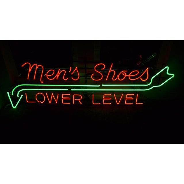 Neon Sign From Department Store, Men's Shoes, Lower Level, Circa 1930s. For Sale