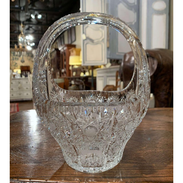 Glass Mid-Century French Cut Glass Crystal Candy Basket With Handle For Sale - Image 7 of 10