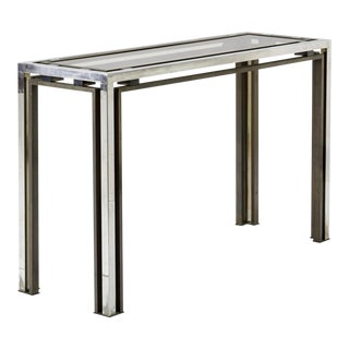 Guy Lefevre Nickel & Glass Console For Sale
