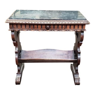 Carved English Oak & Marble Top Book Table C.1940 For Sale