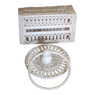 Vintage Wicker Towel Ring & Tissue Holder - A Pair For Sale