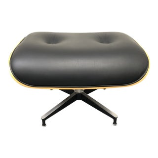 Herman Miller Eames Walnut + Black Leather Ottoman For Sale