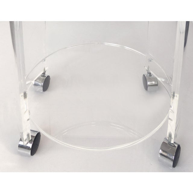 Round Lucite Bar Cart on Casters For Sale - Image 10 of 11