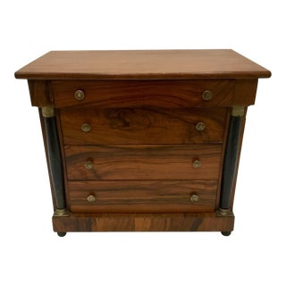 Early 20th Century Antique Empire Style Olive Wood Miniature Chest of Drawers For Sale