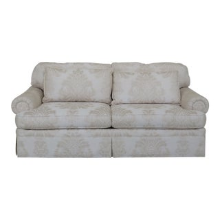 Ej Victor Off-White Damask Print Upholstered Sofa For Sale