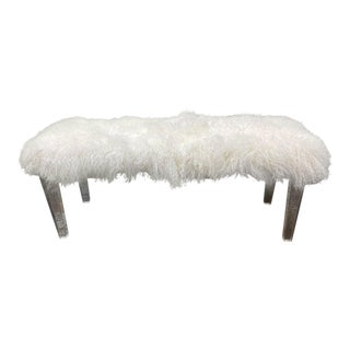 Mongolian Fur + Lucite Bench For Sale