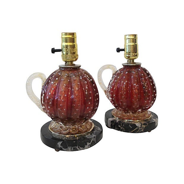 Barovier & Toso Barovier & Toso Glass Lamps - A Pair For Sale - Image 4 of 6
