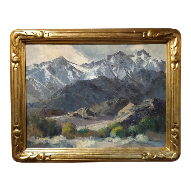 Bennett Bradbury -California Mountain Landscape- Impressionist Oil Painting -C1940s For Sale