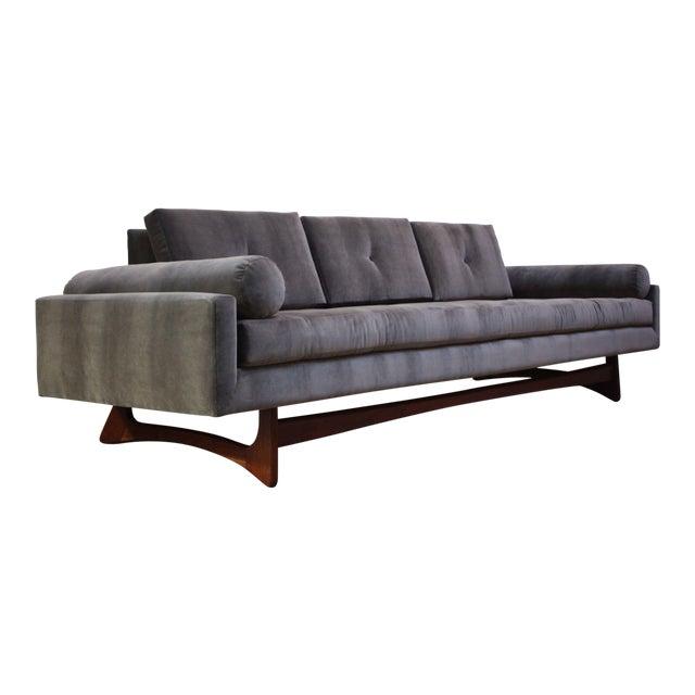 Adrian Pearsall for Craft Associates 'Gondola' Sofa in Walnut and Velvet For Sale