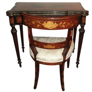 18th Century Rose Wood Marquetry & Ormolu Inlay Game Table Desk & Chair For Sale