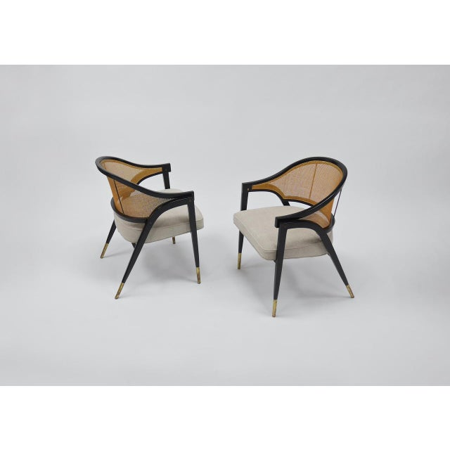 White Caned back occasional chairs by Edward Wormley for Dunbar For Sale - Image 8 of 11