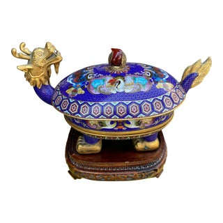 1920s Cloisonne Turtle Dragon Vessel For Sale