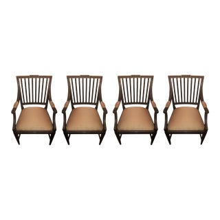 Charles Pollock Gustavian Dining Arm Chairs - Set of 4 For Sale