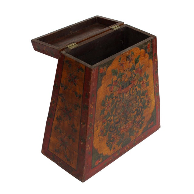 Chinese Tibetan Red Yellow Floral Graphic Trunk Box Table For Sale - Image 5 of 9