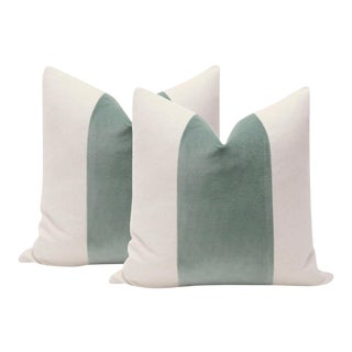 "22"" Patina Green Velvet Panel & Linen Pillows - a Pair"
