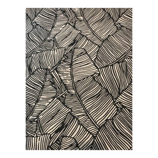 Contemporary Brunschwig & Fils Les Palmiers Print Linen Fabric in Onyx - 2 1/8 Continuous Yards For Sale
