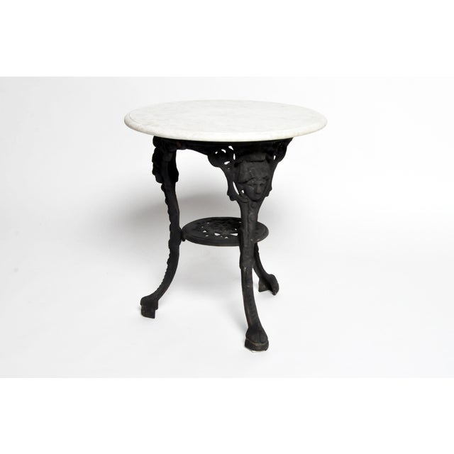 Round Table with Iron Legs and Marble Top - Image 5 of 11