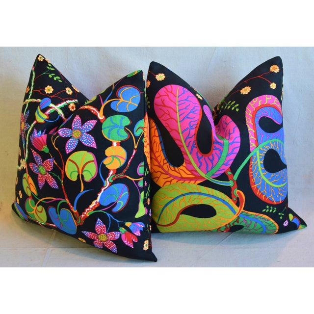 """Designer Josef Frank """"Teheran"""" Floral Linen Feather/Down Pillows 18"""" Square - Pair For Sale - Image 9 of 11"""