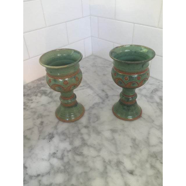 Mid-Century Challis/Goblet Pottery - Pair - Image 2 of 7