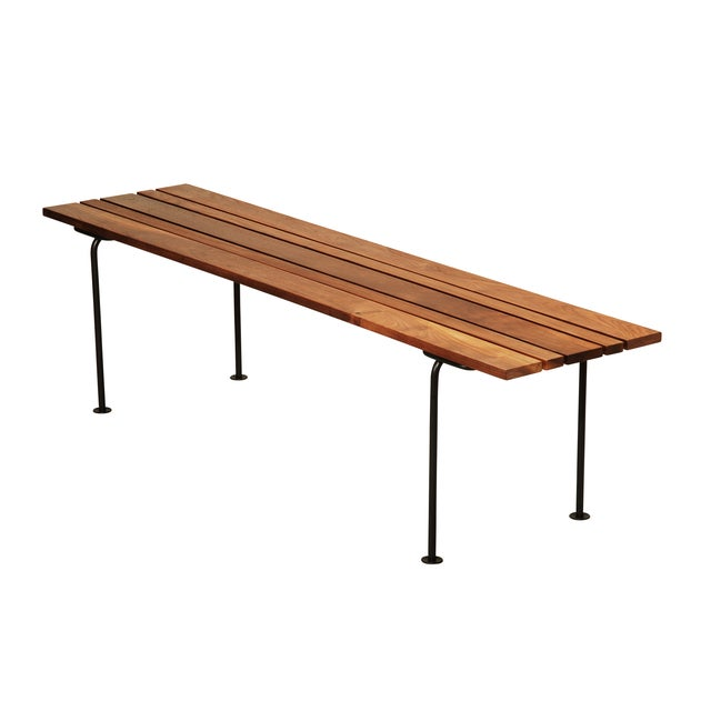 Split Bench in Walnut with Black legs - Image 1 of 4