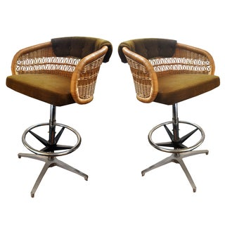 Vintage Rattan Bar Stools - A Pair For Sale