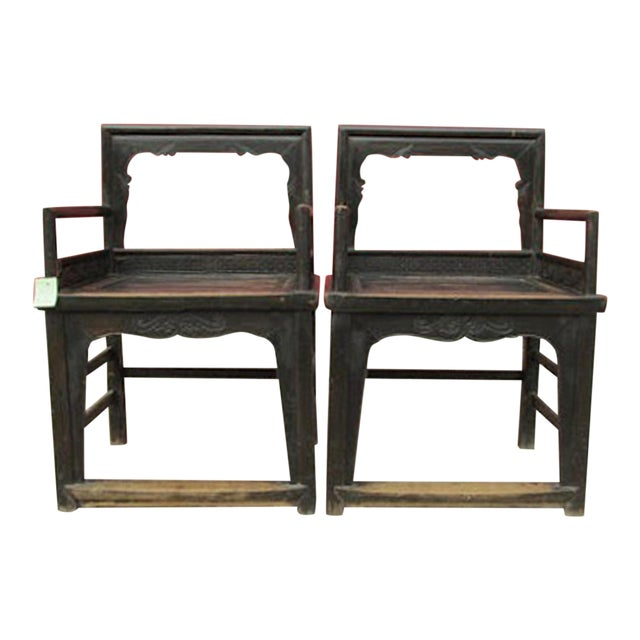 Vintage Carved Wood Arm Chairs - a Pair - Image 1 of 2