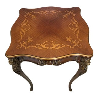 Vintage Italian Lamp Table With Carved Cherub Leg Inlaid For Sale