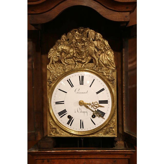 Brass Late 18th Century French Louis XV Carved Burl Walnut Tall Case Clock From Lyon For Sale - Image 7 of 13